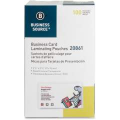 Business Source 5 mil Business Card Laminating Pouches (20861)