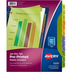 Avery Preprinted Plastic Dividers, 12-Tab Set, Jan.-Dec., Multicolor (11331)