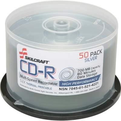 National Industries For the Blind SKILCRAFT CD Recordable Media - CD-R - 52x - 700 MB - 1 Pack Spindle (5214221)