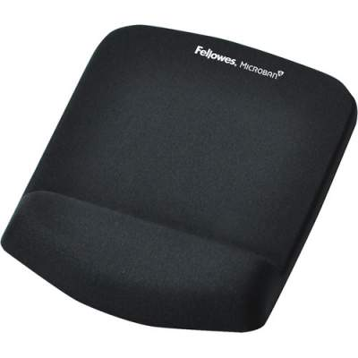 Fellowes PlushTouch Mouse Pad Wrist Rest with Microban - Black (9252001)