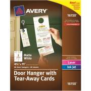 Avery Door Hanger with Tearaway Cards, Uncoated - Two-Sided Printing (16150)