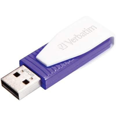 Verbatim 64GB Swivel USB Flash Drive - Violet (49816)