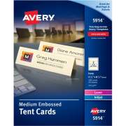 "Avery Medium Tent Cards, Embossed Ivory, Uncoated, Two-Sided Printing, 2-1/2"" x 8-1/2"", 100 Cards (5914)"