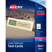 "Avery Large Tent Cards, Uncoated, Embossed, Ivory, Two-Sided Printing, 3-1/2"" x 11"" 50 Cards (5915)"