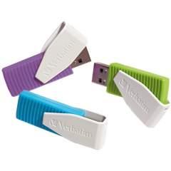 Verbatim 8GB Swivel USB Flash Drive - 3pk - Blue, Green, Violet (98426)