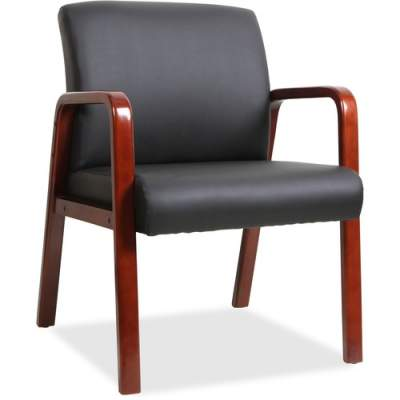 Lorell Black Leather Wood Frame Guest Chair (40202)