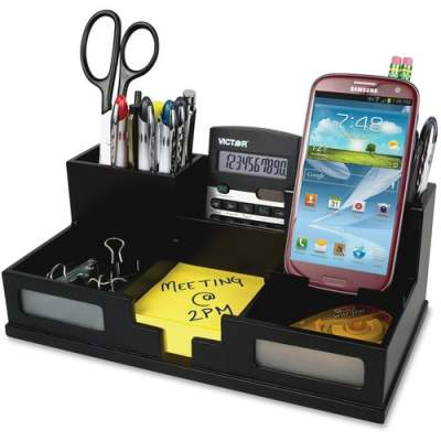 Victor 9525-5 Midnight Black Desk Organizer with Smart Phone Holder