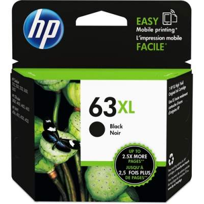 HP 63XL High Yield Black Original Ink Cartridge (F6U64AN)