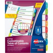 Avery Ready Index 8 Tab Dividers, Customizable TOC, 1 Set (11841)