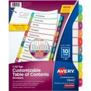Avery Ready Index 10 Tab Dividers, Customizable TOC, 1 Set (11842)