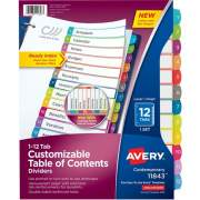 Avery Ready Index 12 Tab Dividers, Customizable TOC, 1 Set (11843)