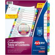 Avery Ready Index 15 Tab Dividers, Customizable TOC, 1 Set (11845)