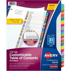 Avery Ready Index 31 Tab Dividers, Customizable TOC, 1 Set (11846)