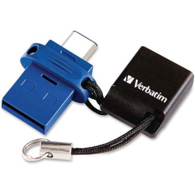 Verbatim 64GB Store 'n' Go Dual USB 3.0 Flash Drive for USB-C Devices - Blue (99155)