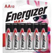 Energizer MAX Alkaline AA Batteries, 12 Pack (E91BW12EM)