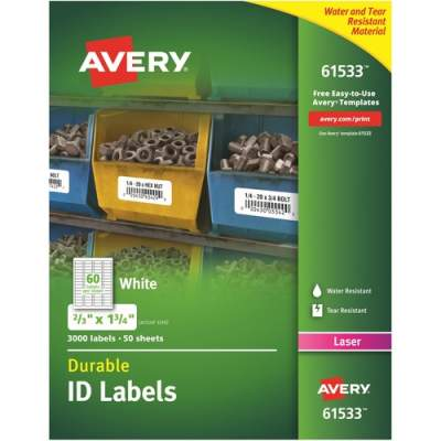 Avery Durable ID Labels, TrueBlock(R) Technology, Permanent Adhesive, 2/3