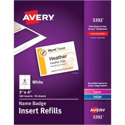 Avery Name Badge Insert Refills, 3