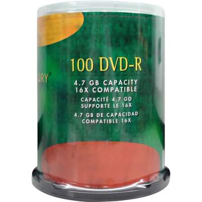 Compucessory DVD Recordable Media - DVD-R - 16x - 4.70 GB - 100 Pack (72103)