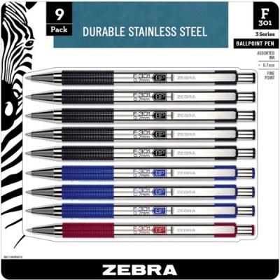 Zebra Pen BCA F-301 Stainless Steel Ballpoint Pens (11169)