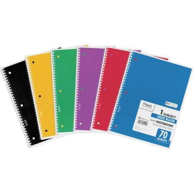 Mead Spiral Bound 1-subject Notebooks (05510BD)