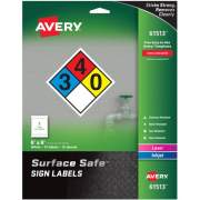 "Avery Surface Safe(R) Sign Labels, 8"" x 8"", Removable Adhesive, Water & Chemical Resistant, 15 Labels (61513)"