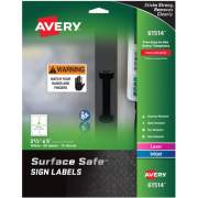 "Avery Surface Safe(R) Sign Labels, 3-1/2"" x 5"", Removable Adhesive, Water & Chemical Resistant, 60 Labels (61514)"