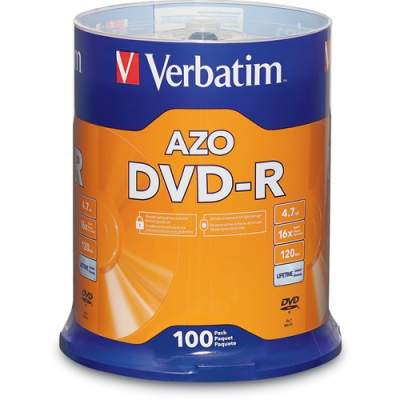 Verbatim AZO DVD-R 4.7GB 16X with Branded Surface - 100pk Spindle (95102)