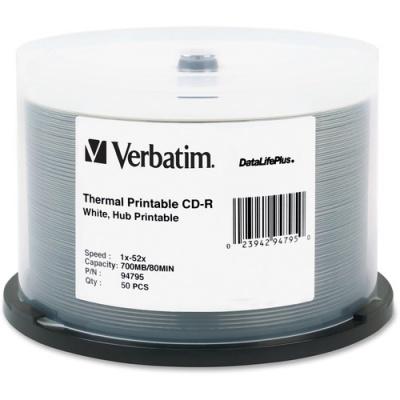 Verbatim CD-R 700MB 52X DataLifePlus White Thermal Printable, Hub Printable - 50pk Spindle (94795)