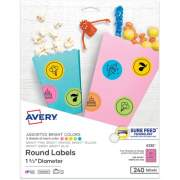 "Avery Astrobrights(R) Color Easy Peel(R) Round Labels, 1-2/3"" Diameter, Pack of 240 (4330)"