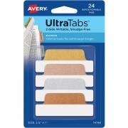 Avery Ultra Tabs(R), 2.5 x1, 2-Side Writable, Metallics, 24 Repositionable Margin Tabs (74786)