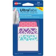 Avery Multiuse Ultra Tabs(R), 2 x 1.5, 2-Side Writable, Geometric Designs, 24 Repositionable Tabs (74801)