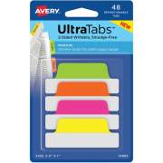 "Avery Ultra Tabs(R), 2.5"" x 1"", 2-Side Writable, Neons, 48 Repositionable Margin Tabs (74865)"