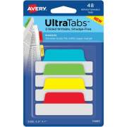 """Avery Ultra Tabs(R), 2.5"""" x 1"""", 2-Side Writable, Primary Colors, 48 Repositionable Margin Tabs (74866)"""