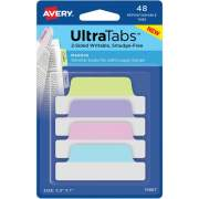 """Avery Ultra Tabs(R), 2.5"""" x 1"""", 2-Side Writable, Pastel Colors, 48 Repositionable Margin Tabs (74867)"""