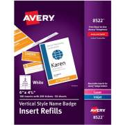 "Avery Vertical Name Badge & Ticket Inserts, 6"" x 4-1/4"", 100 Inserts (8522)"