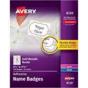 Avery Self-Adhesive Removable Name Tag Labels, Gold Metallic Border, 2-1/3 x 3-3/8, 120 Badges (8720)