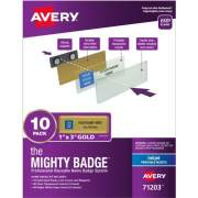 "The Mighty Badge(R) by Avery Professional Reusable Name Badge System, Gold, 1"" x 3"" ID Badges, 10 Durable, Reusable Name Tags, 80 Inserts for Inkjet Printers (71203)"