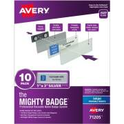"The Mighty Badge(R) by Avery Professional Reusable Name Badge System, Silver, 1"" x 3"" ID Badges, 10 Durable, Reusable Name Tags, 80 Inserts for Inkjet Printers (71205)"