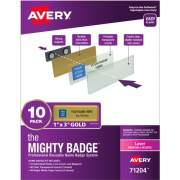"The Mighty Badge(R) by Avery Professional Reusable Name Badge System, Gold, 1"" x 3"" ID Badges, 10 Durable, Reusable Name Tags, 80 Inserts for Laser Printers (71204)"
