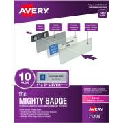 "The Mighty Badge(R) by Avery Professional Reusable Name Badge System, Silver, 1"" x 3"" ID Badges, 10 Durable, Reusable Name Tags, 80 Inserts for Laser Printers (71206)"