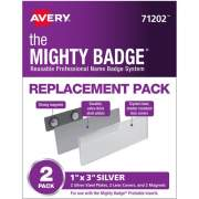 "The Mighty Badge(R) by Avery Professional Reusable Name Badge System Replacement Pack, Silver, 1"" x 3"" ID Badges, 2 Durable, Reusable Name Tags (71202)"