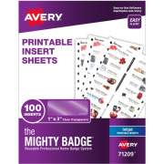 "The Mighty Badge(R) by Avery Printable Insert Sheets, 1"" x 3"" ID Badges, 100 Clear Inserts (5 Sheets) for Inkjet Printers (71209)"