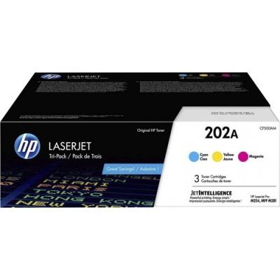 HP 202A 3-pack Cyan/Magenta/Yellow Original LaserJet Toner Cartridges (CF500AM)