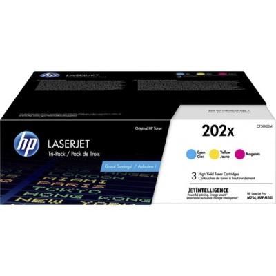 HP 202X 3-pack High Yield Cyan/Magenta/Yellow Original LaserJet Toner Cartridges (CF500XM)