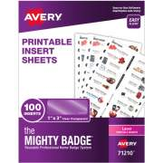 "The Mighty Badge(R) by Avery Printable Insert Sheets, 1"" x 3"" ID Badges, 100 Clear Inserts (5 Sheets) for Laser Printers (71210)"