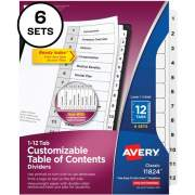 Avery Ready Index(R) 12-Tab Binder Dividers, Customizable Table of Contents, Classic White Tabs, 6 Sets (11824)