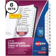 Avery Avery Ready Index 15 Tab Dividers, Customizable TOC, 6 Sets (11825)