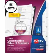 Avery Ready Index(R) 5-Tab Binder Dividers, Customizable Table of Contents, Classic White Tabs, 6 Sets (11821)