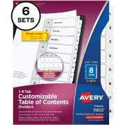 Avery Ready Index(R) 8-Tab Binder Dividers, Customizable Table of Contents, Classic White Tabs, 6 Sets (11822)
