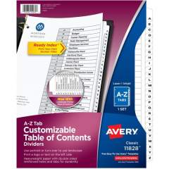 Avery Ready Index A-Z 26 Tab Dividers, Customizable TOC, 1 Set (11828)